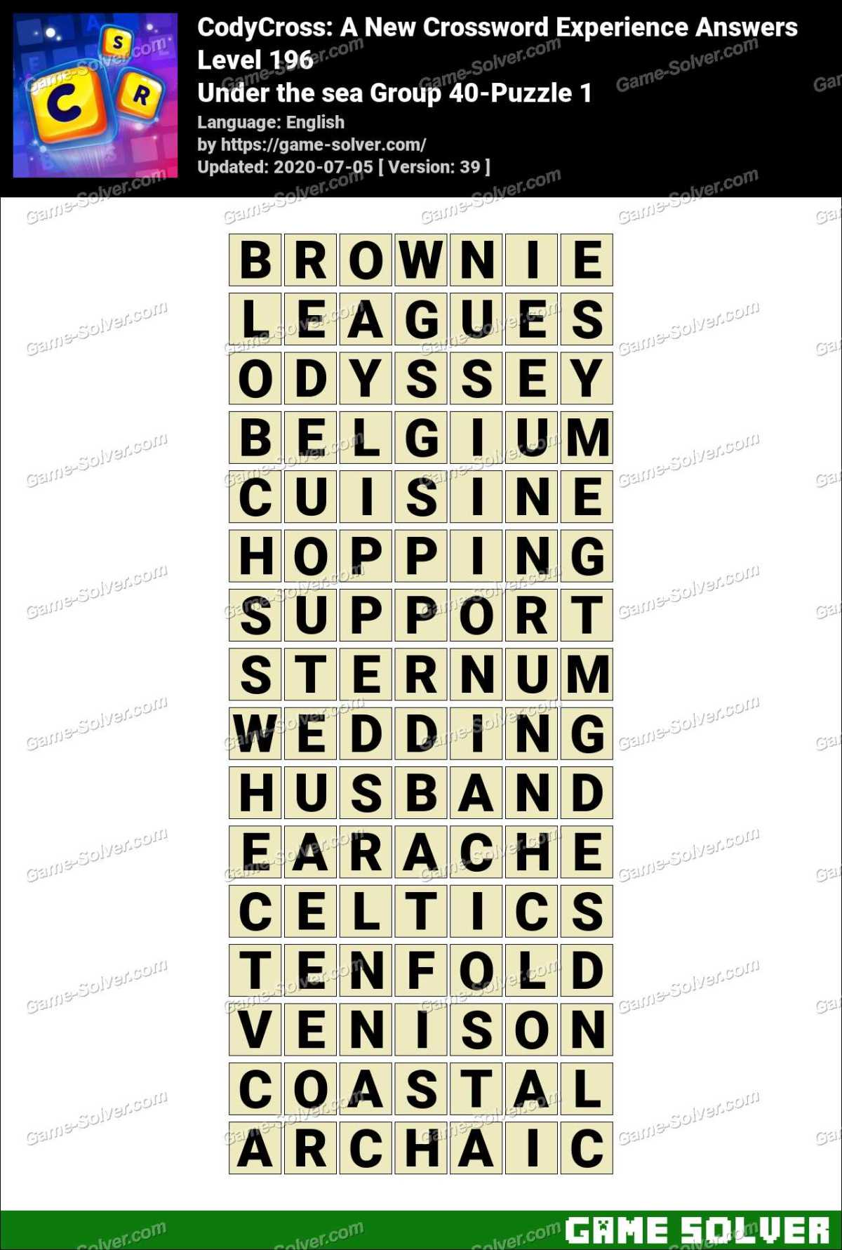 CodyCross Under the sea Group 40-Puzzle 1 Answers
