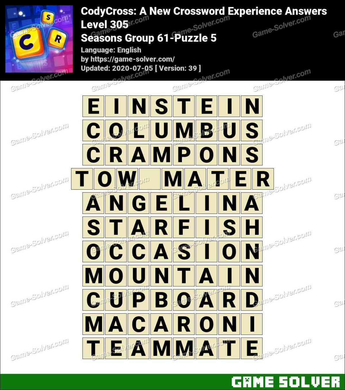 CodyCross Seasons Group 61-Puzzle 5 Answers