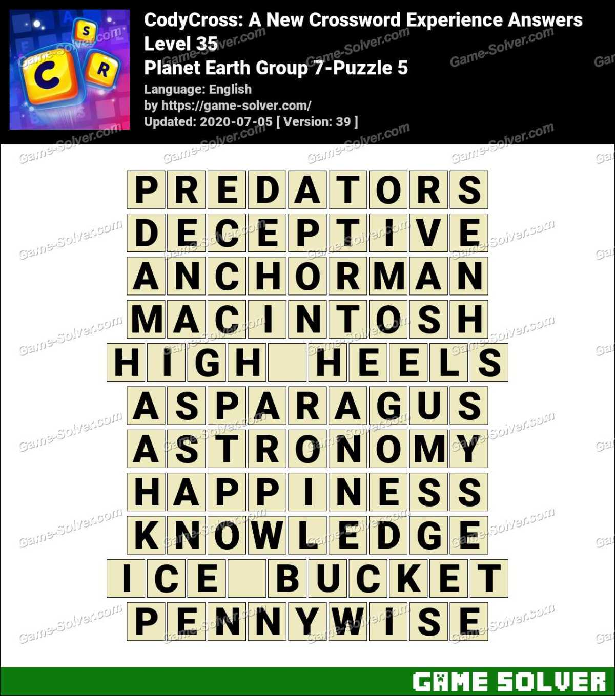 CodyCross Planet Earth Group 7-Puzzle 5 Answers