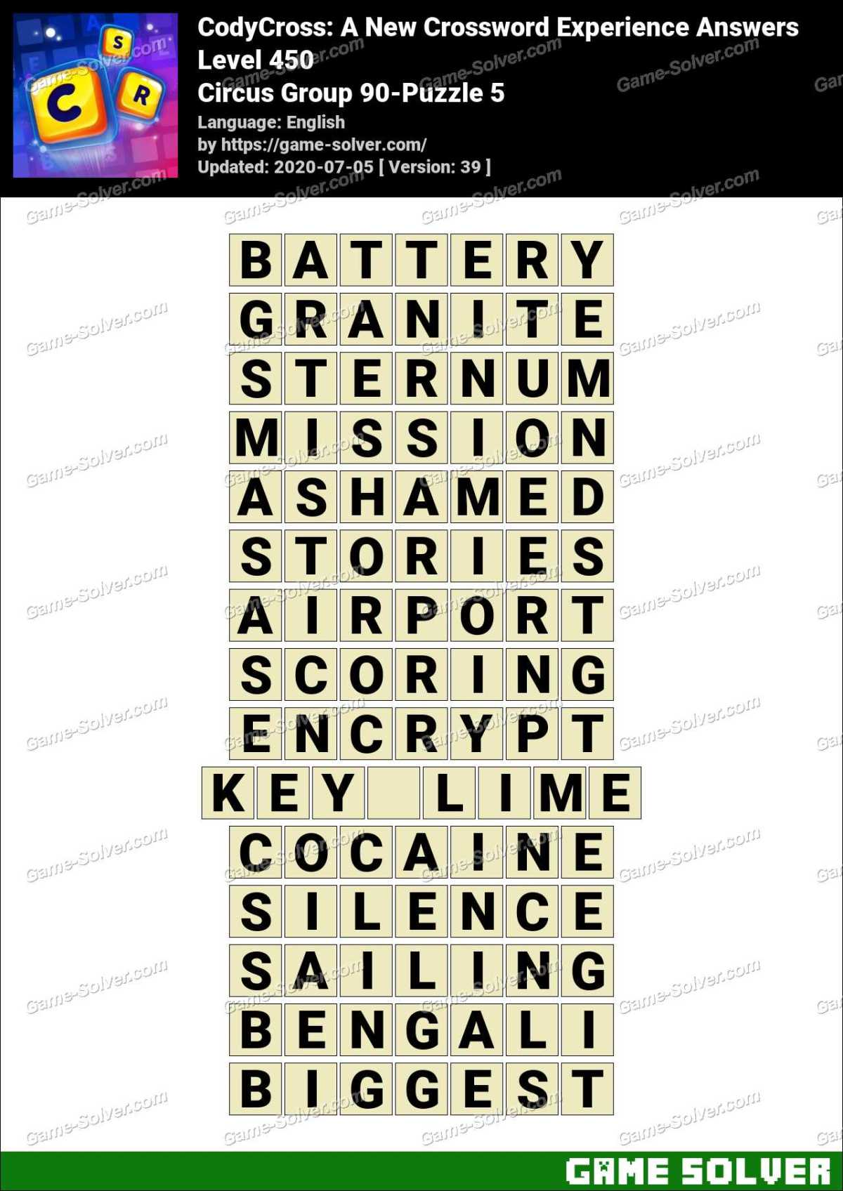 CodyCross Circus Group 90-Puzzle 5 Answers
