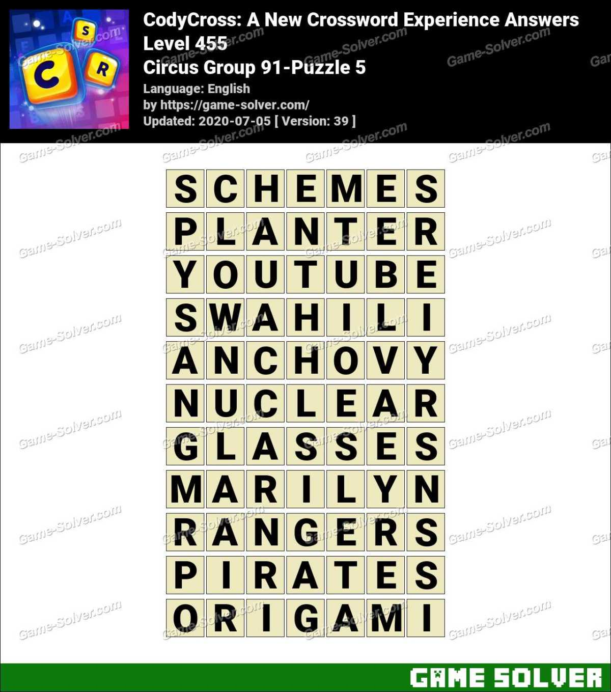 CodyCross Circus Group 91-Puzzle 5 Answers