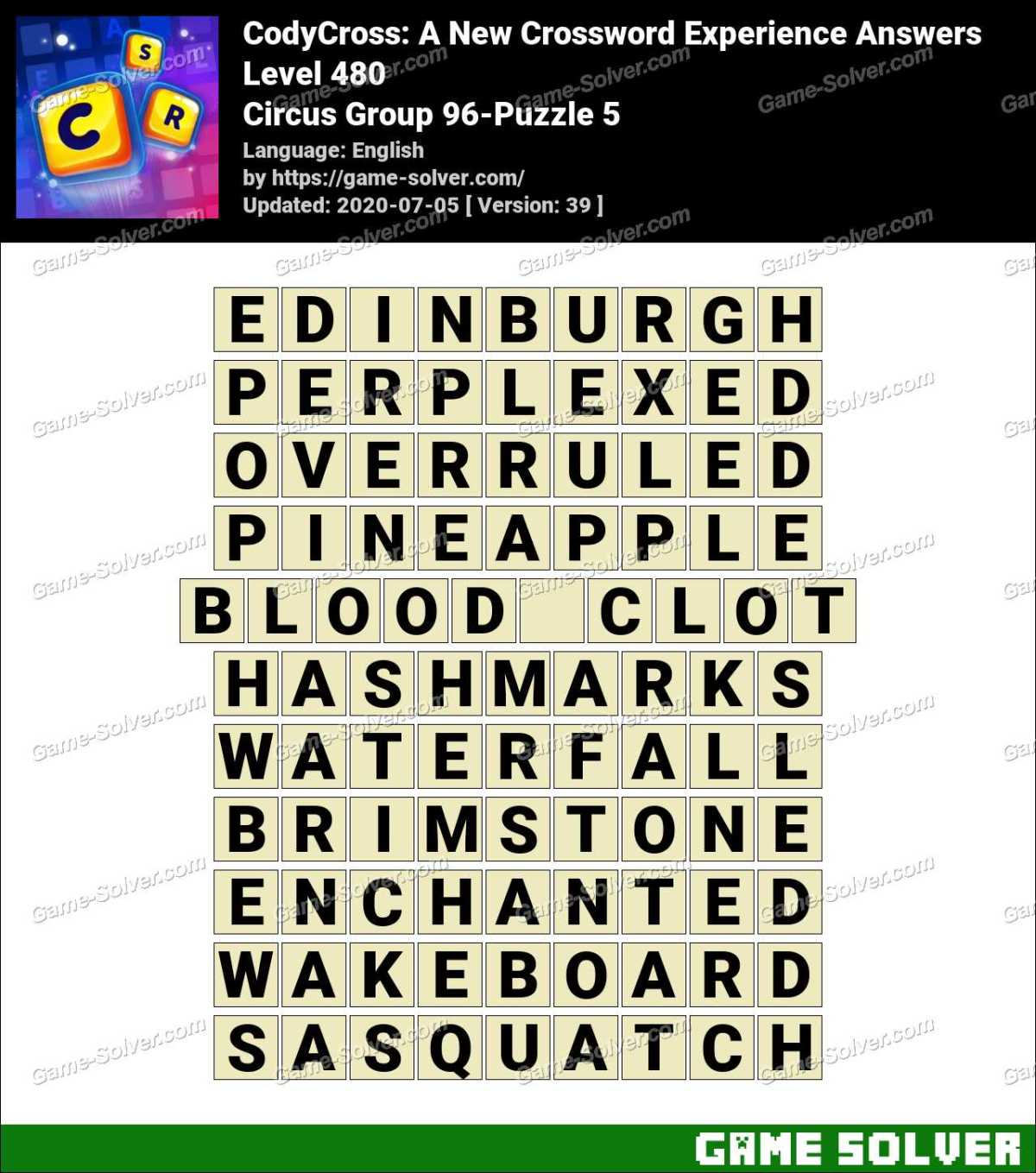 CodyCross Circus Group 96-Puzzle 5 Answers