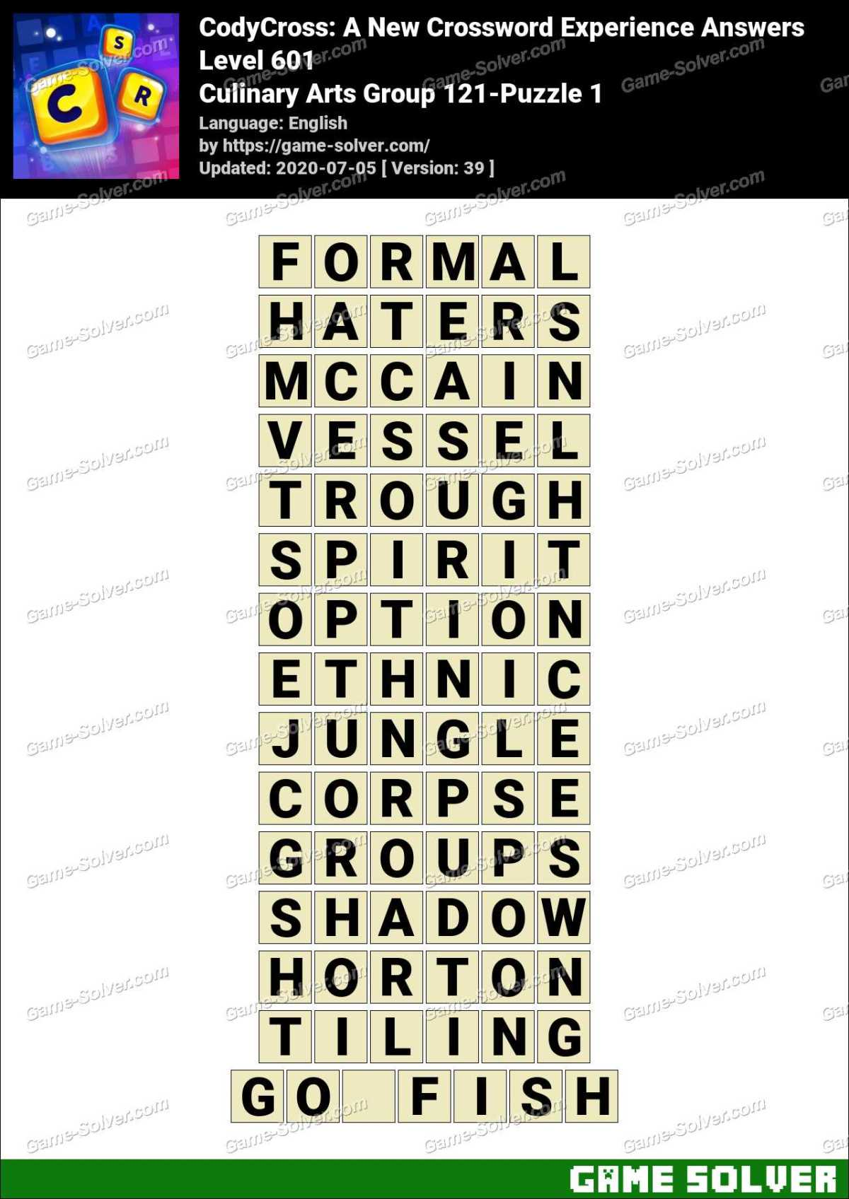 CodyCross Culinary Arts Group 121-Puzzle 1 Answers