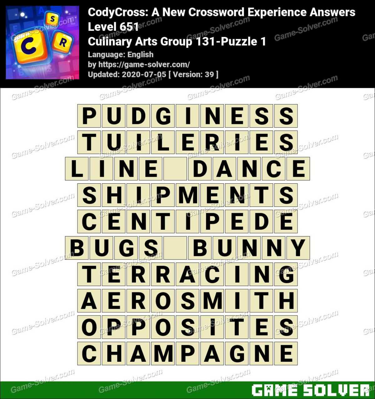 CodyCross Culinary Arts Group 131-Puzzle 1 Answers
