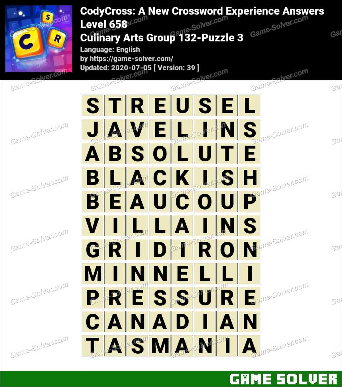 CodyCross Culinary Arts Group 132-Puzzle 3 Answers