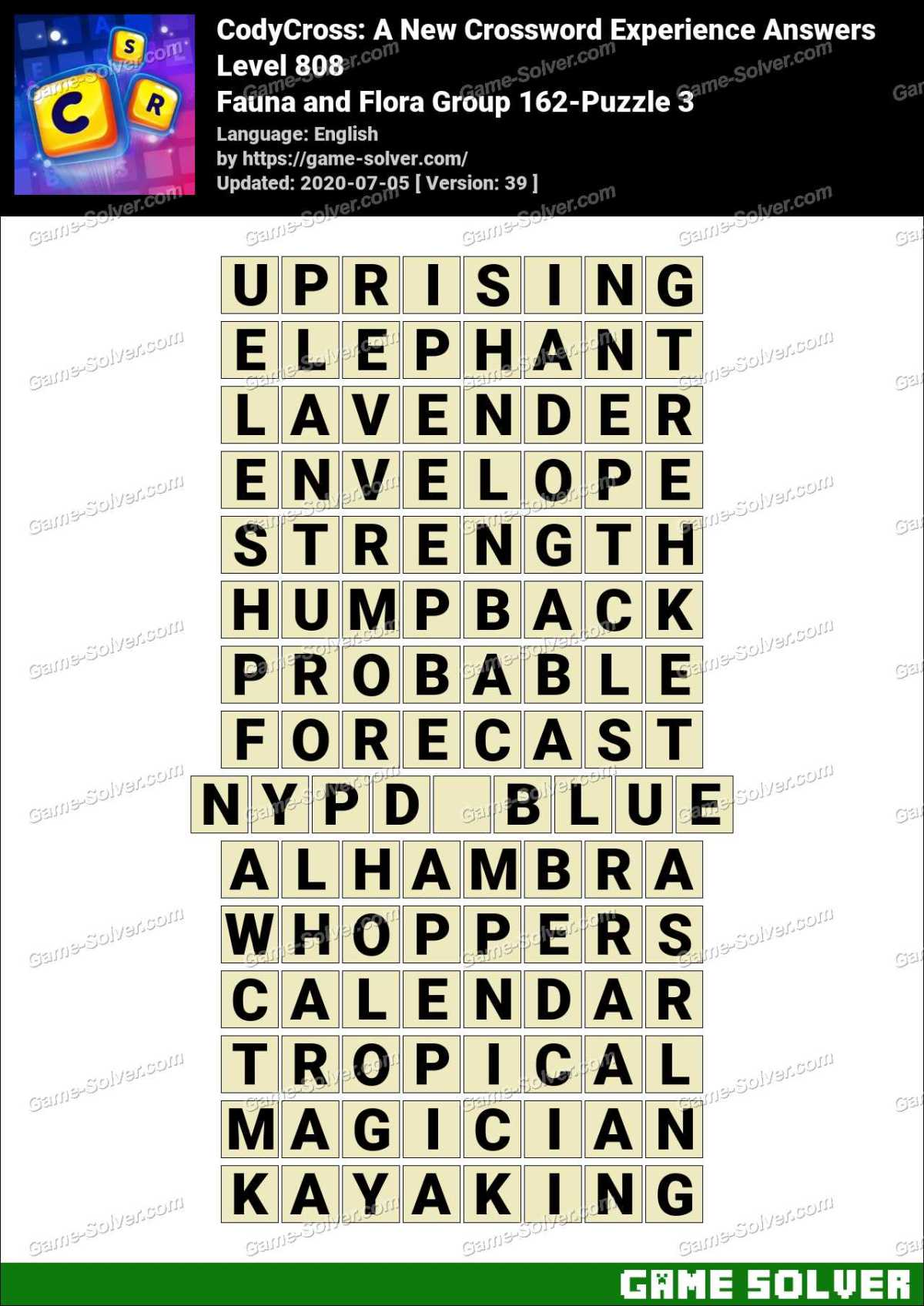 CodyCross Fauna and Flora Group 162-Puzzle 3 Answers