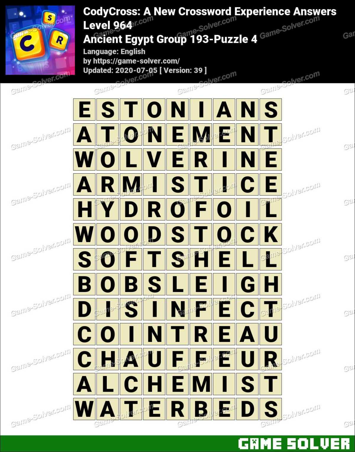 CodyCross Ancient Egypt Group 193-Puzzle 4 Answers