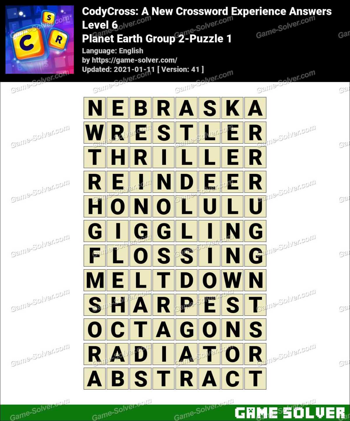 CodyCross Planet Earth Group 2-Puzzle 1 Answers