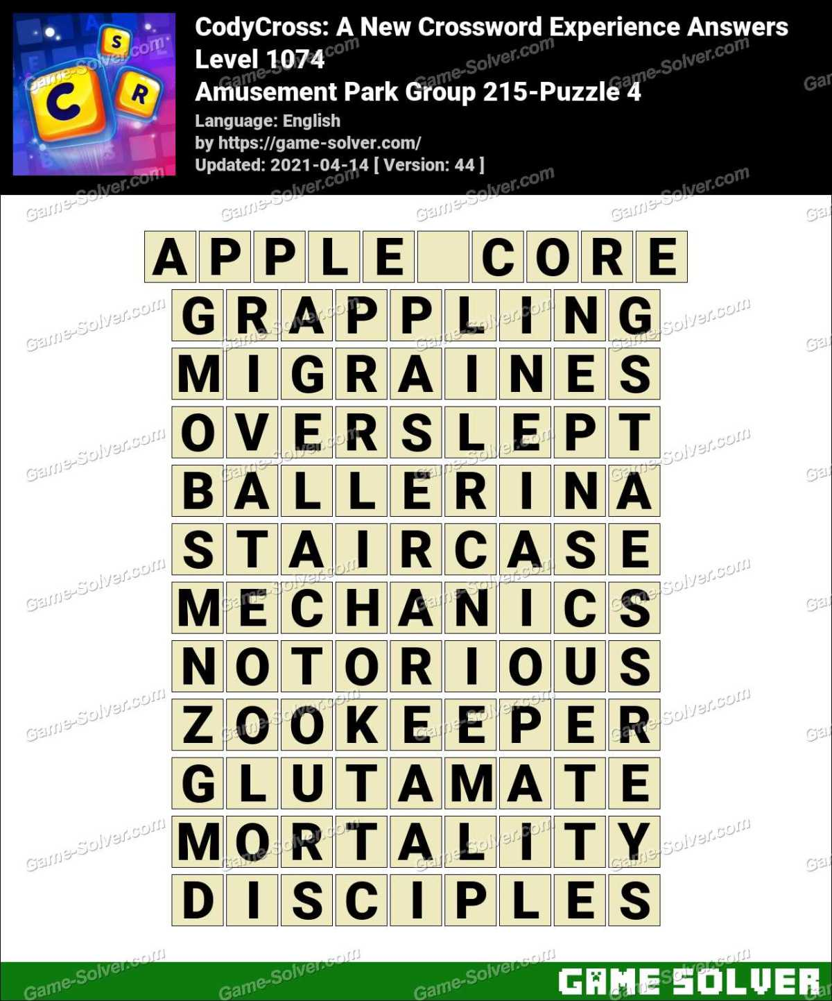 CodyCross Amusement Park Group 215-Puzzle 4 Answers