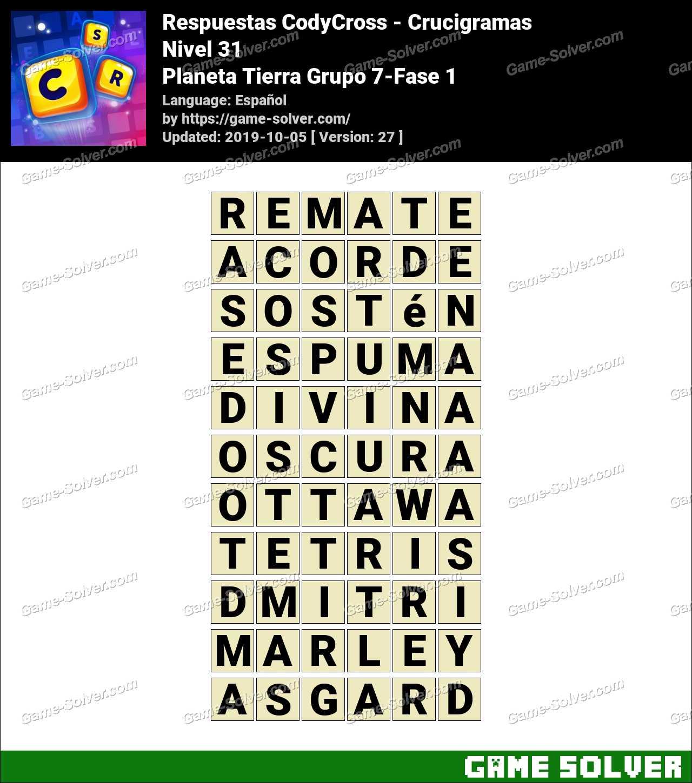Respuestas CodyCross Planeta Tierra Grupo 7-Fase 1
