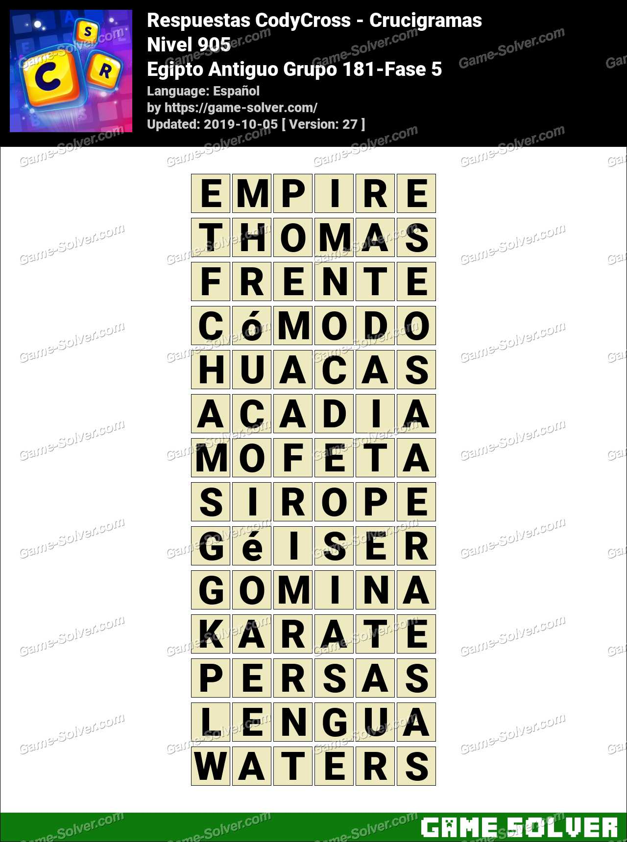 Respuestas CodyCross Egipto Antiguo Grupo 181-Fase 5