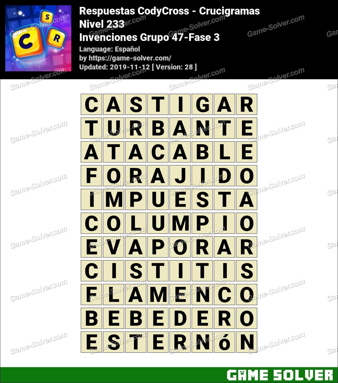 Respuestas CodyCross Invenciones Grupo 47-Fase 3