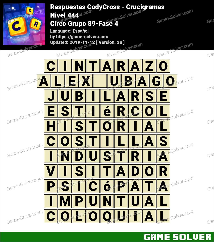 Respuestas CodyCross Circo Grupo 89-Fase 4