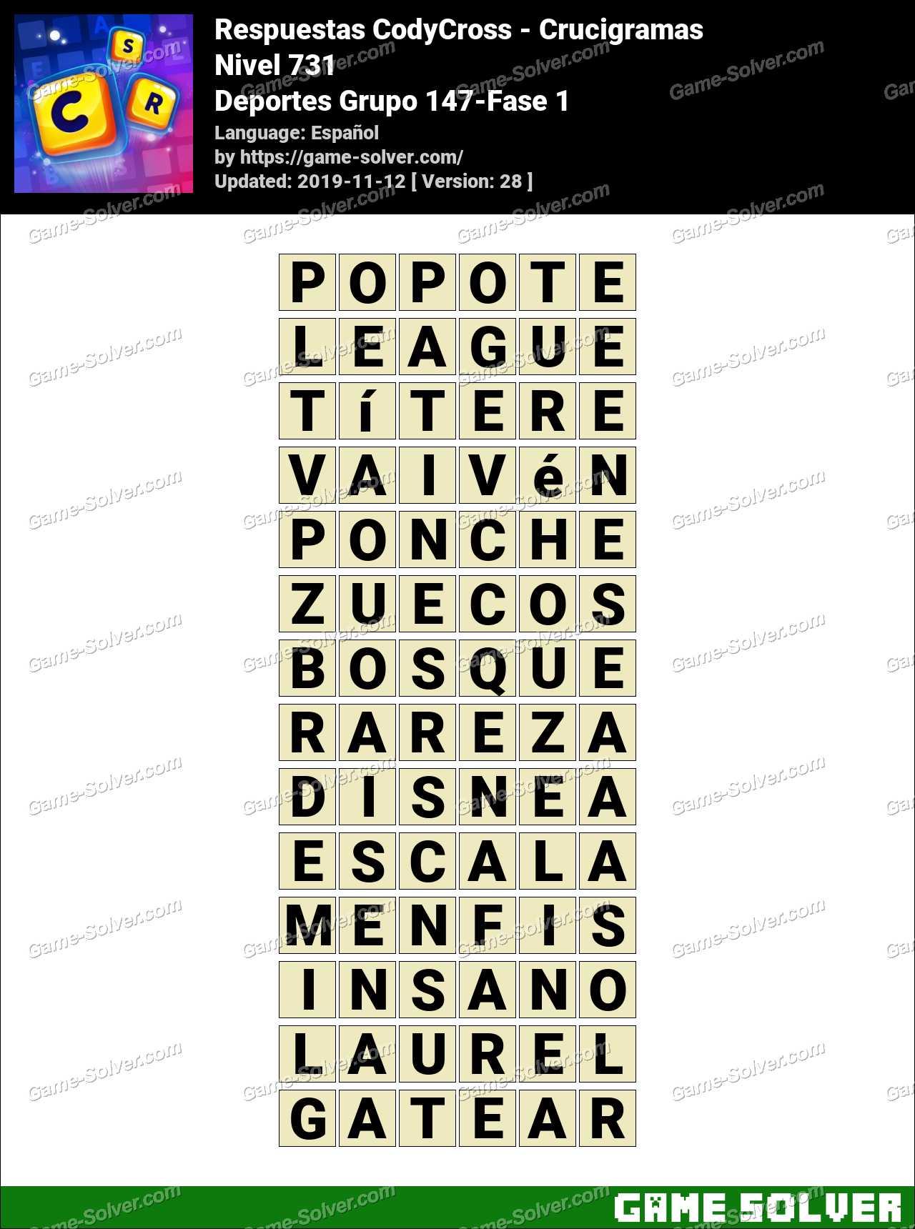 Respuestas CodyCross Deportes Grupo 147-Fase 1