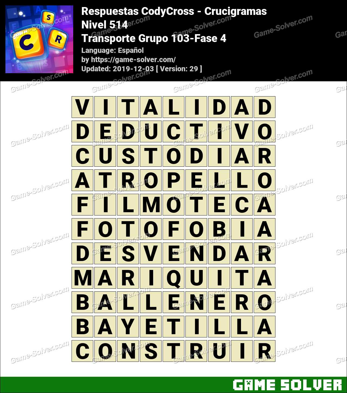 Respuestas CodyCross Transporte Grupo 103-Fase 4