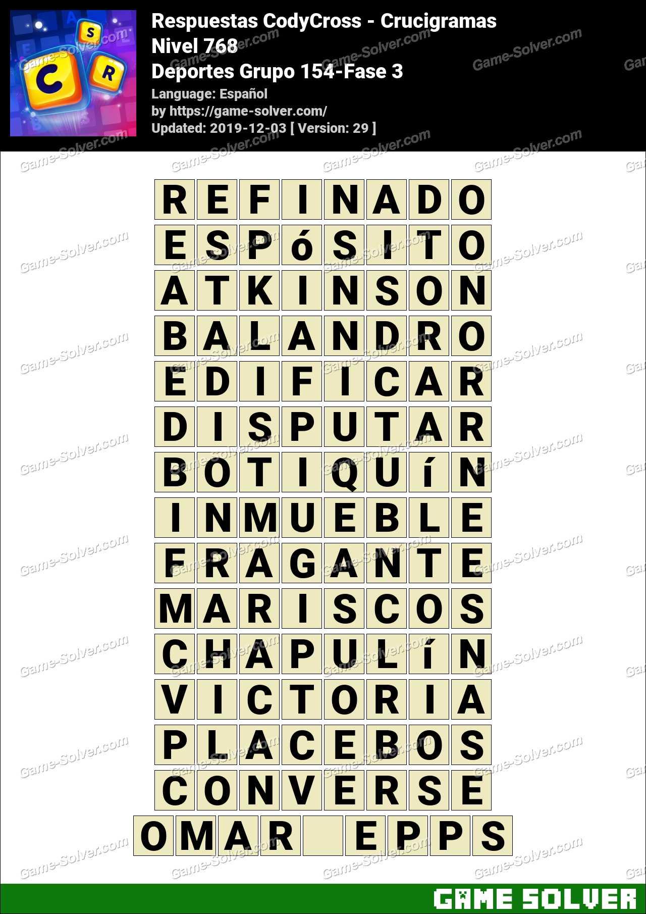Respuestas CodyCross Deportes Grupo 154-Fase 3