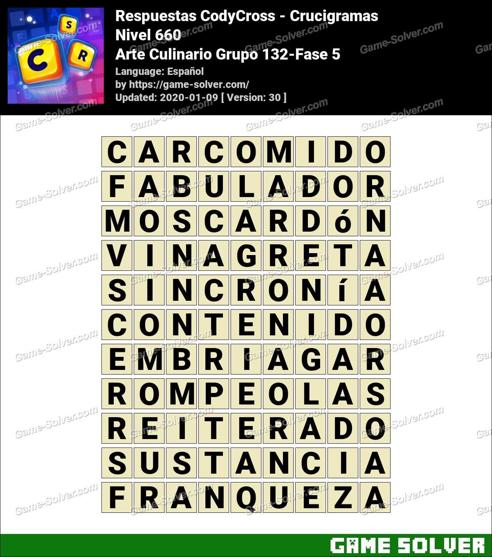 Respuestas CodyCross Arte Culinario Grupo 132-Fase 5