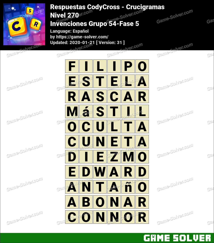 Respuestas CodyCross Invenciones Grupo 54-Fase 5
