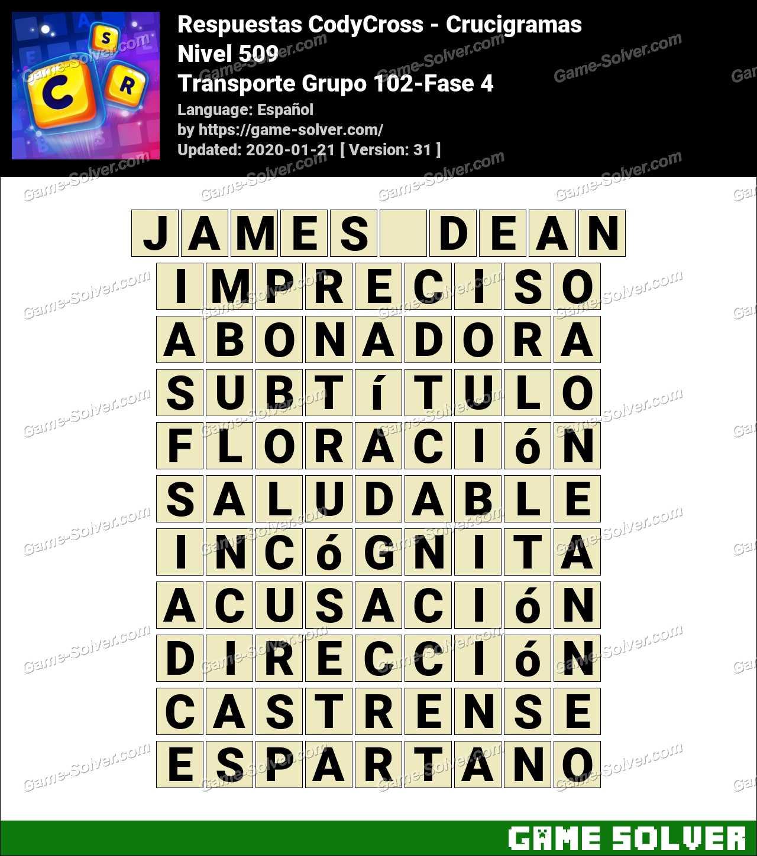 Respuestas CodyCross Transporte Grupo 102-Fase 4