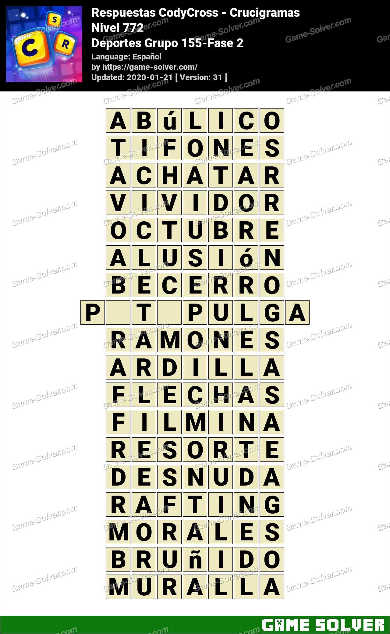 Respuestas CodyCross Deportes Grupo 155-Fase 2