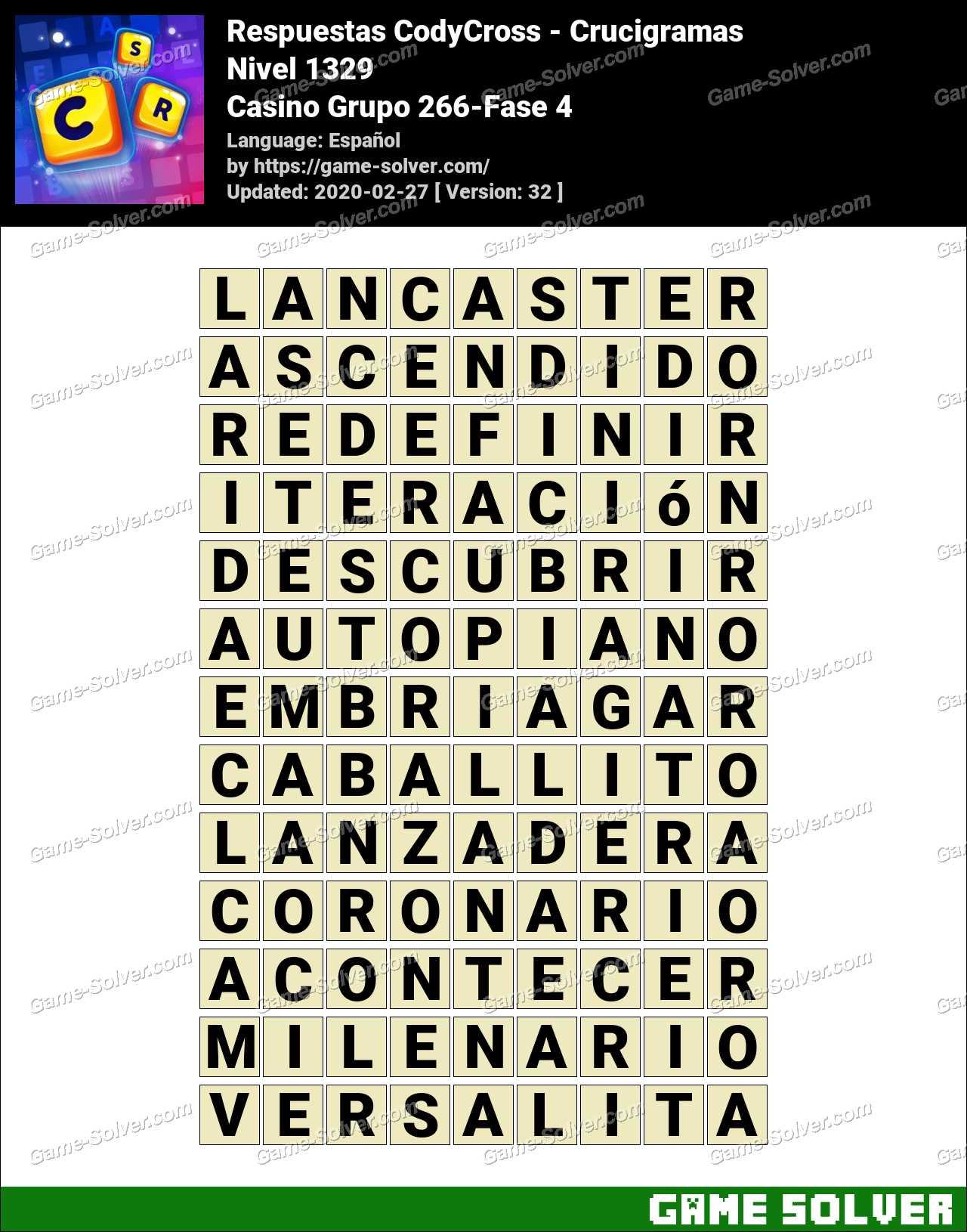 Respuestas CodyCross Casino Grupo 266-Fase 4