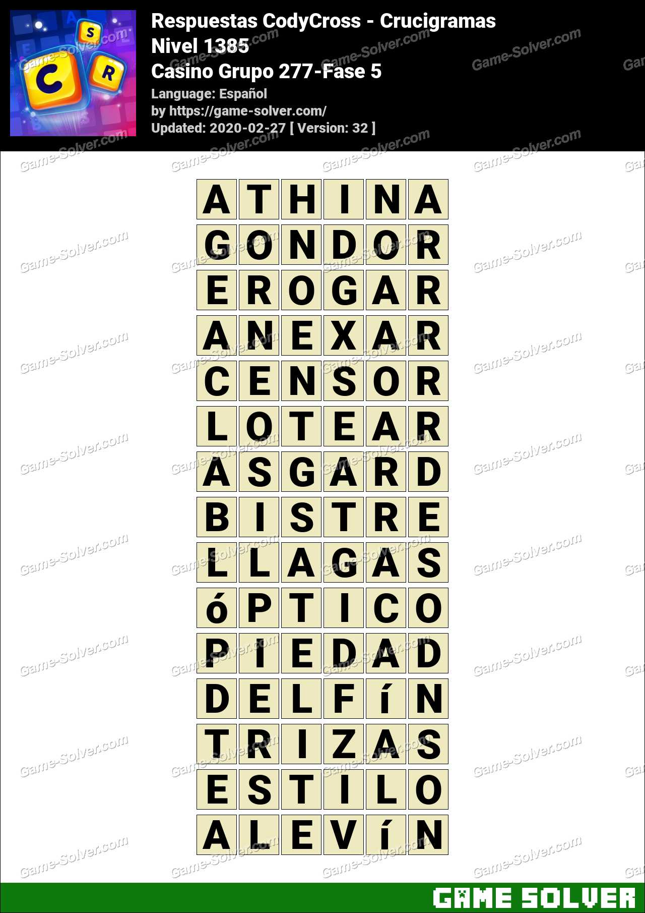 Respuestas CodyCross Casino Grupo 277-Fase 5