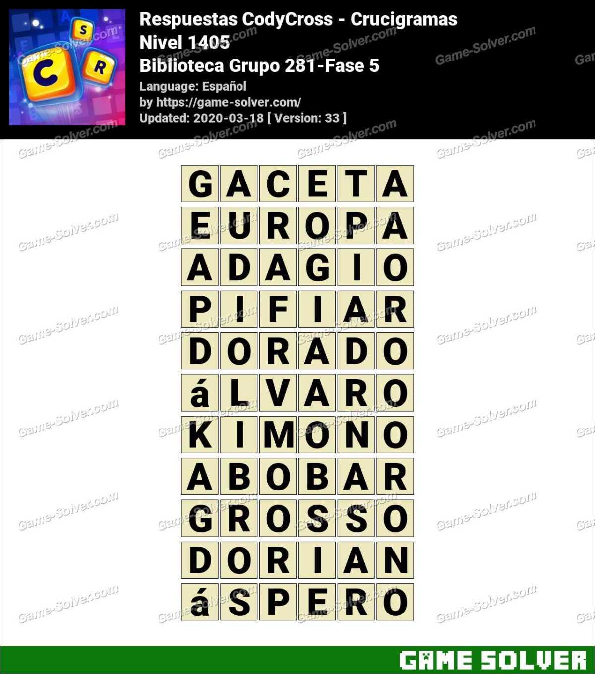 Respuestas CodyCross Biblioteca Grupo 281-Fase 5