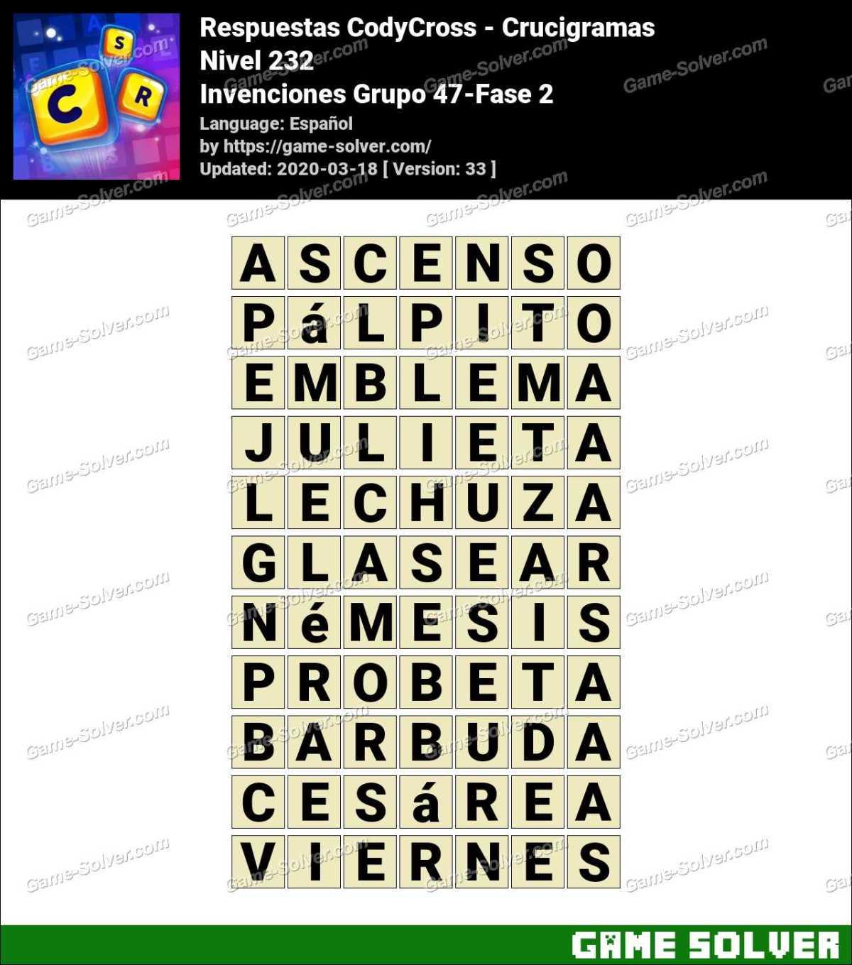 Respuestas CodyCross Invenciones Grupo 47-Fase 2