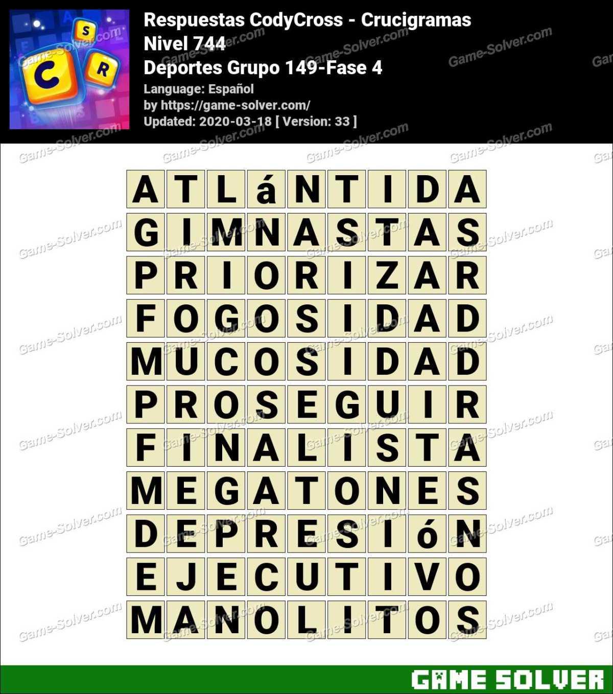 Respuestas CodyCross Deportes Grupo 149-Fase 4