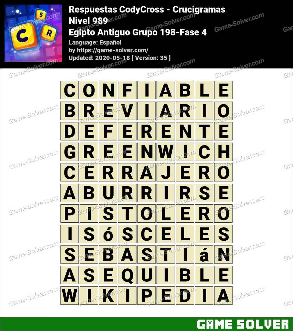 Respuestas CodyCross Egipto Antiguo Grupo 198-Fase 4