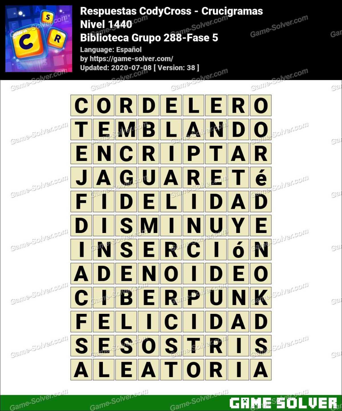 Respuestas CodyCross Biblioteca Grupo 288-Fase 5