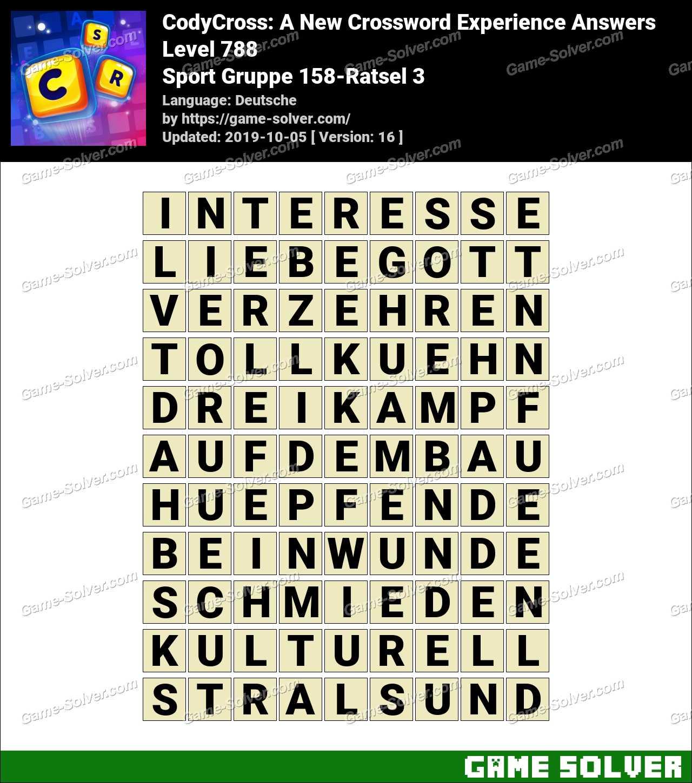CodyCross Sport Gruppe 158-Ratsel 3 Lösungen
