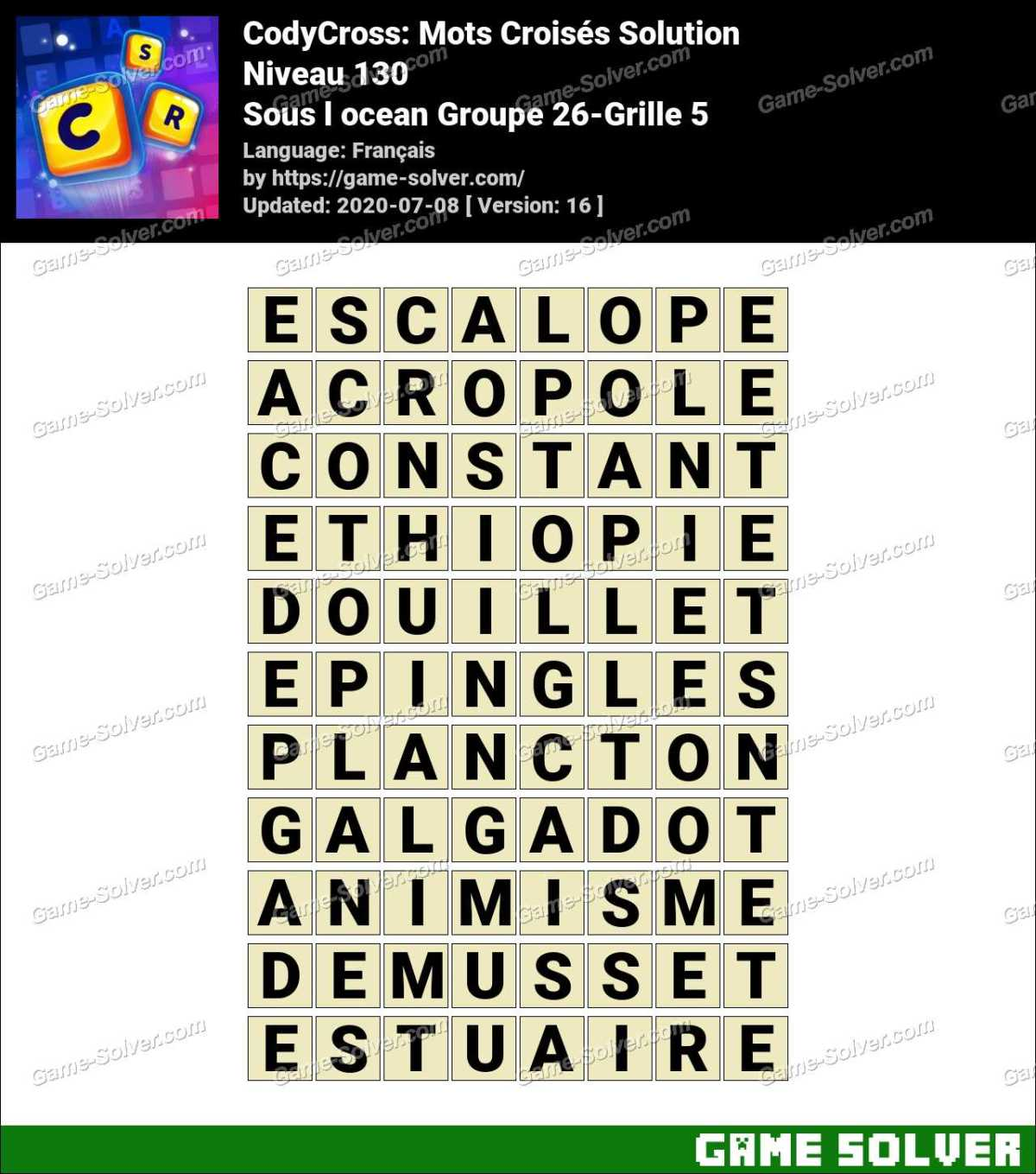 CodyCross Sous l ocean Groupe 26-Grille 5 Solution