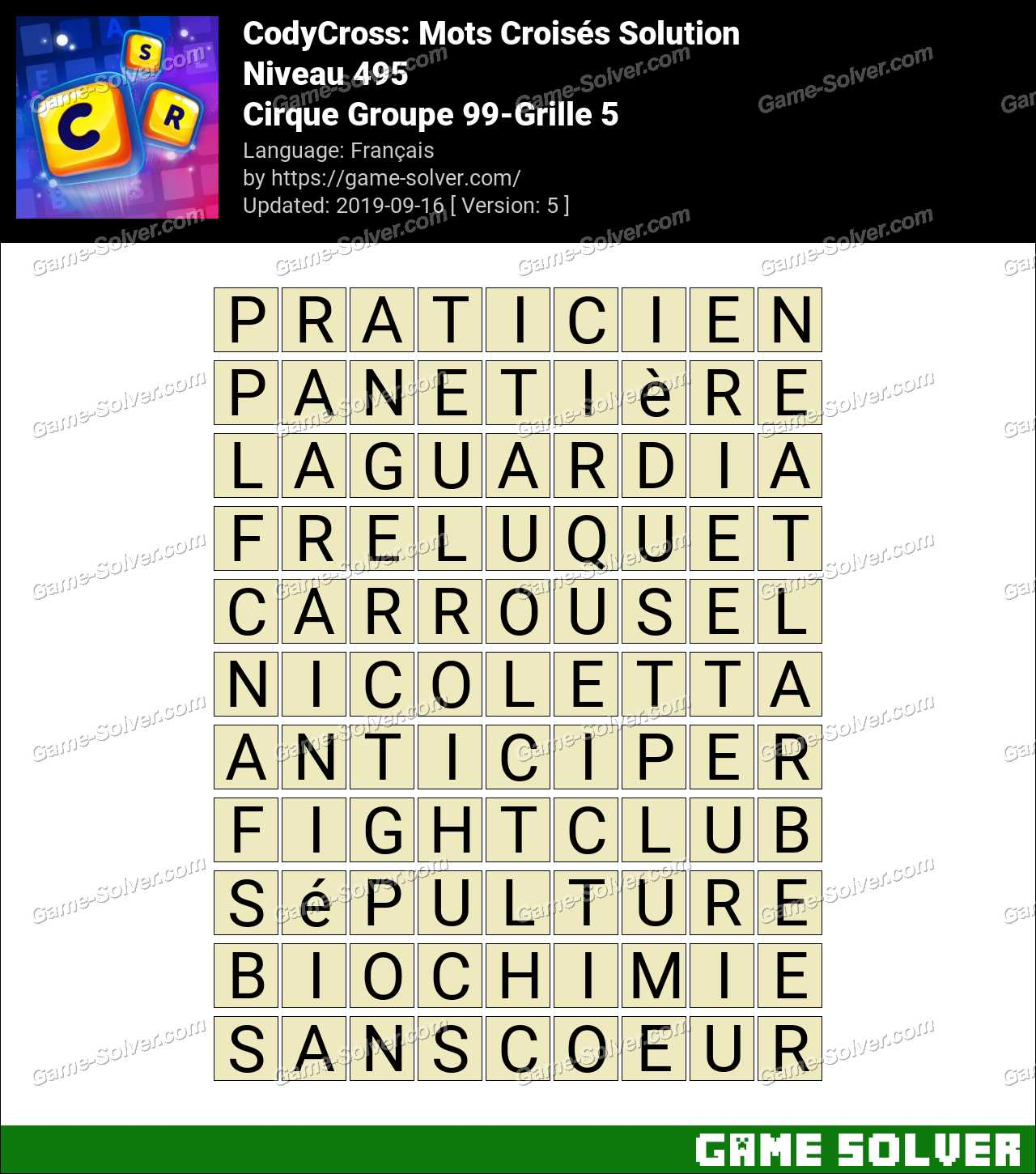 CodyCross Cirque Groupe 99-Grille 5 Solution