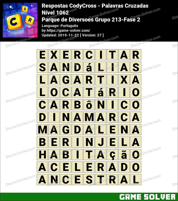 Respostas CodyCross Parque de Diversoes Grupo 213-Fase 2