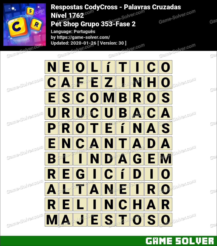 Respostas CodyCross Pet Shop Grupo 353-Fase 2