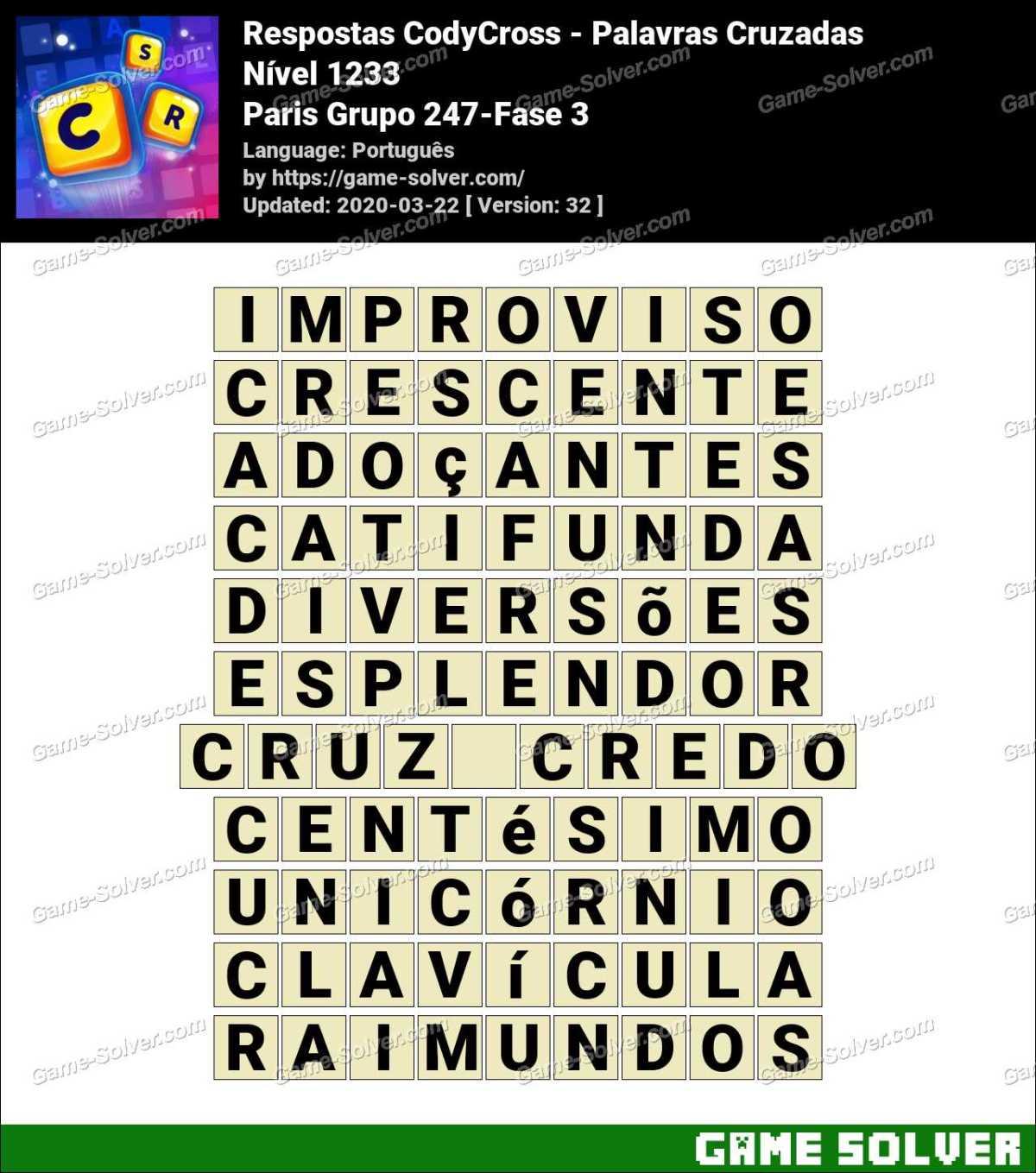 Respostas CodyCross Paris Grupo 247-Fase 3