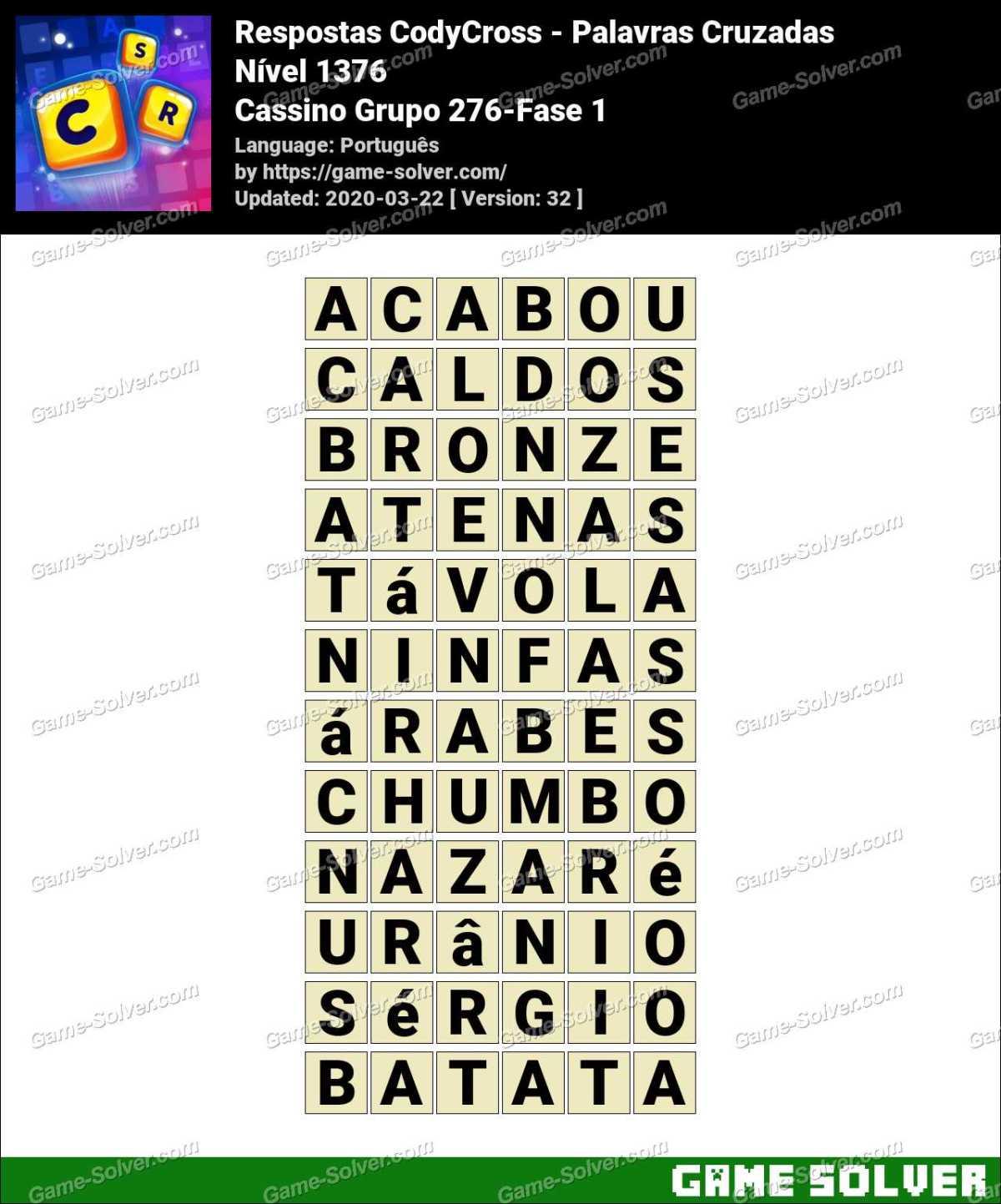 Respostas CodyCross Cassino Grupo 276-Fase 1