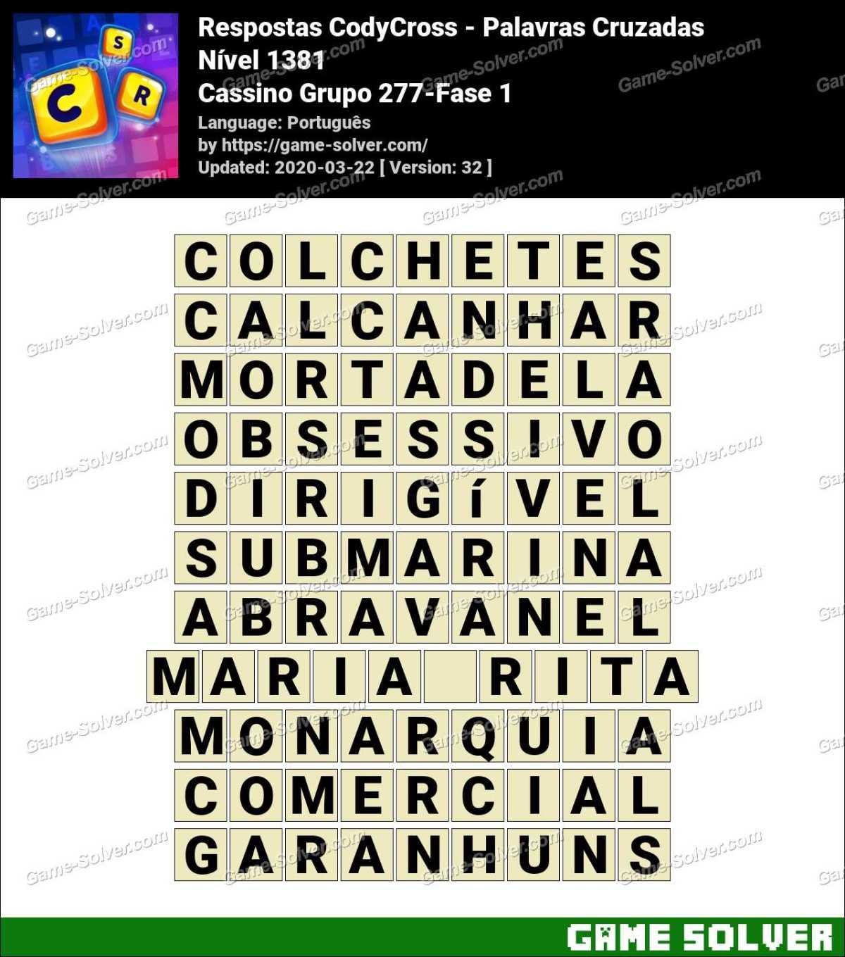 Respostas CodyCross Cassino Grupo 277-Fase 1