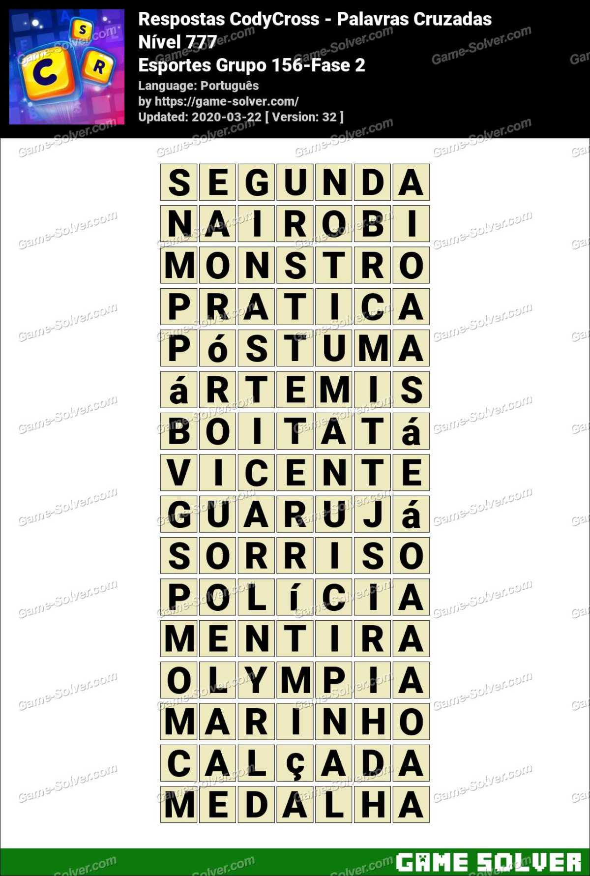 Respostas CodyCross Esportes Grupo 156-Fase 2