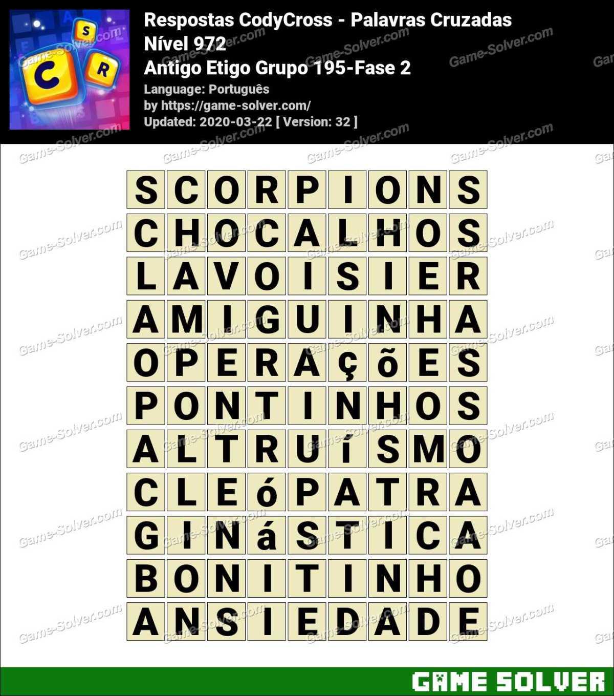 Respostas CodyCross Antigo Etigo Grupo 195-Fase 2