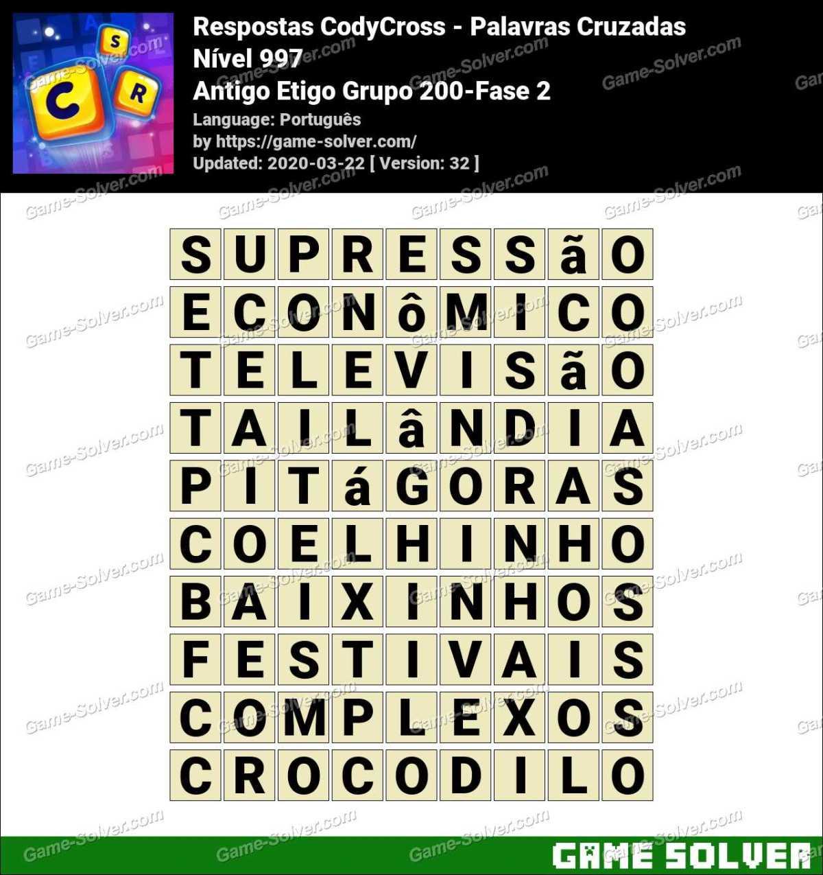 Respostas CodyCross Antigo Etigo Grupo 200-Fase 2