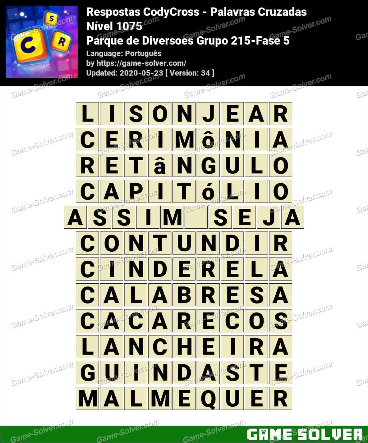 Respostas CodyCross Parque de Diversoes Grupo 215-Fase 5