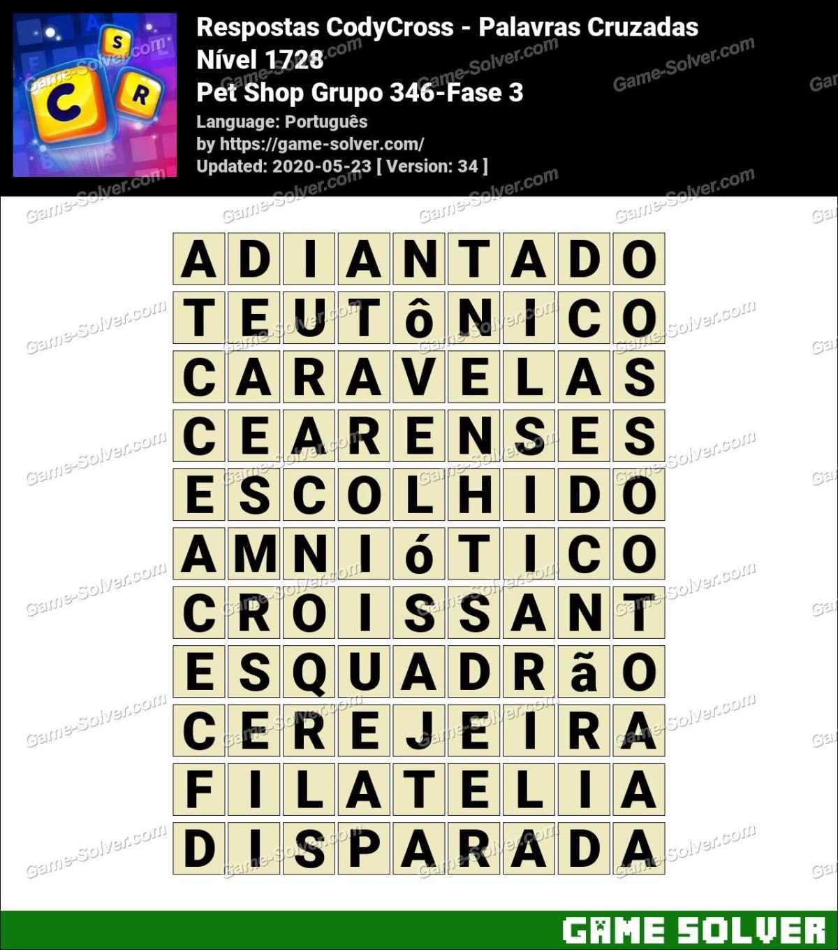 Respostas CodyCross Pet Shop Grupo 346-Fase 3