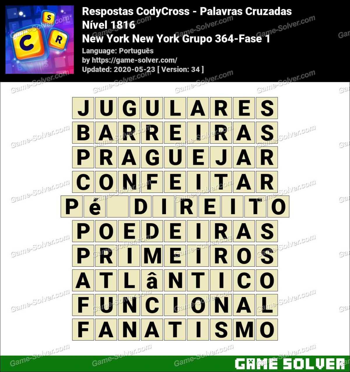 Respostas CodyCross New York New York Grupo 364-Fase 1