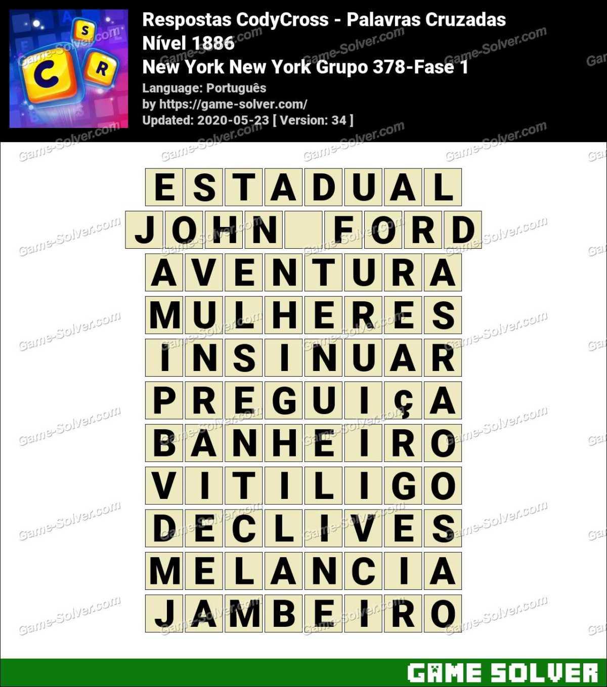Respostas CodyCross New York New York Grupo 378-Fase 1