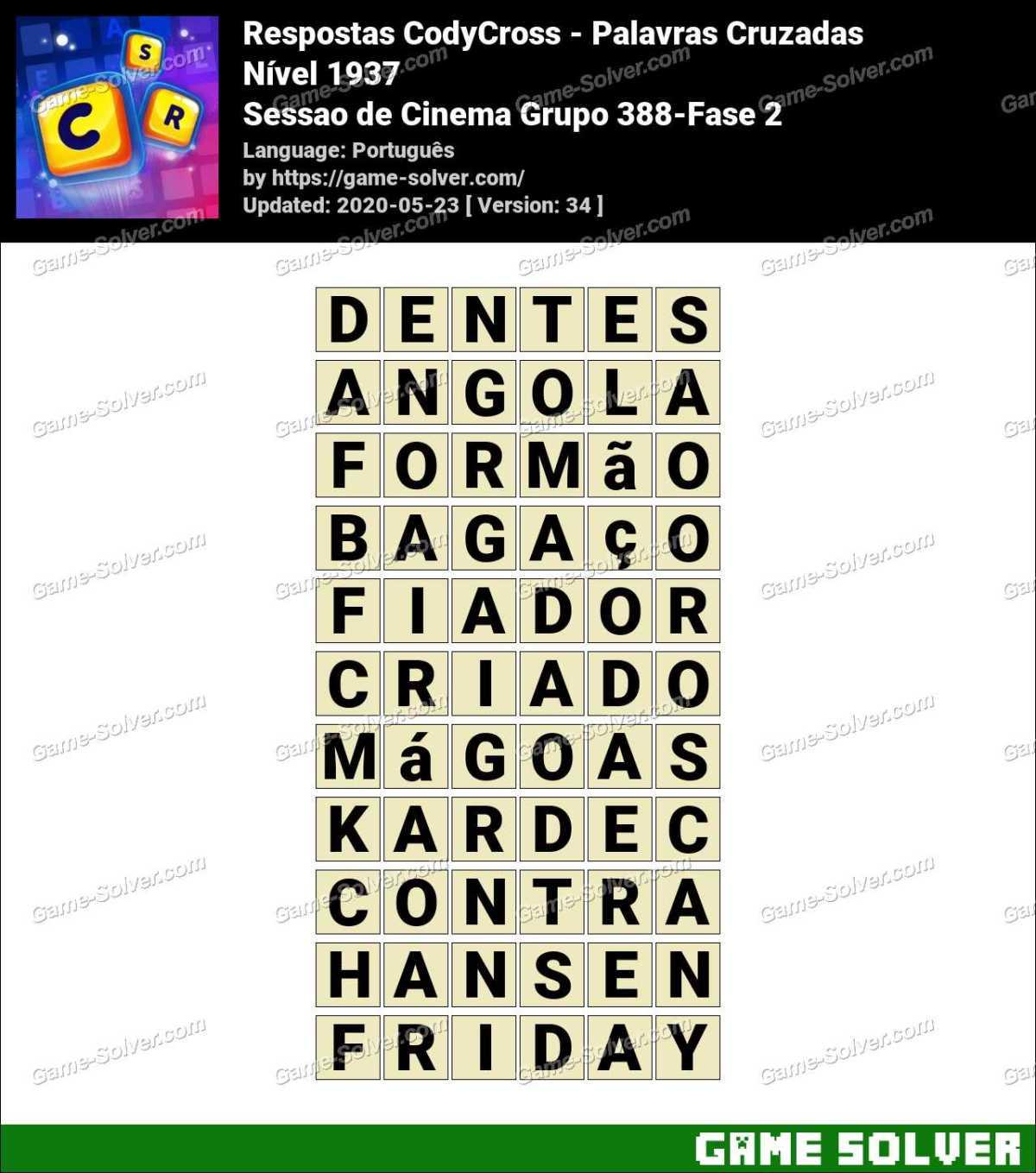 Respostas CodyCross Sessao de Cinema Grupo 388-Fase 2