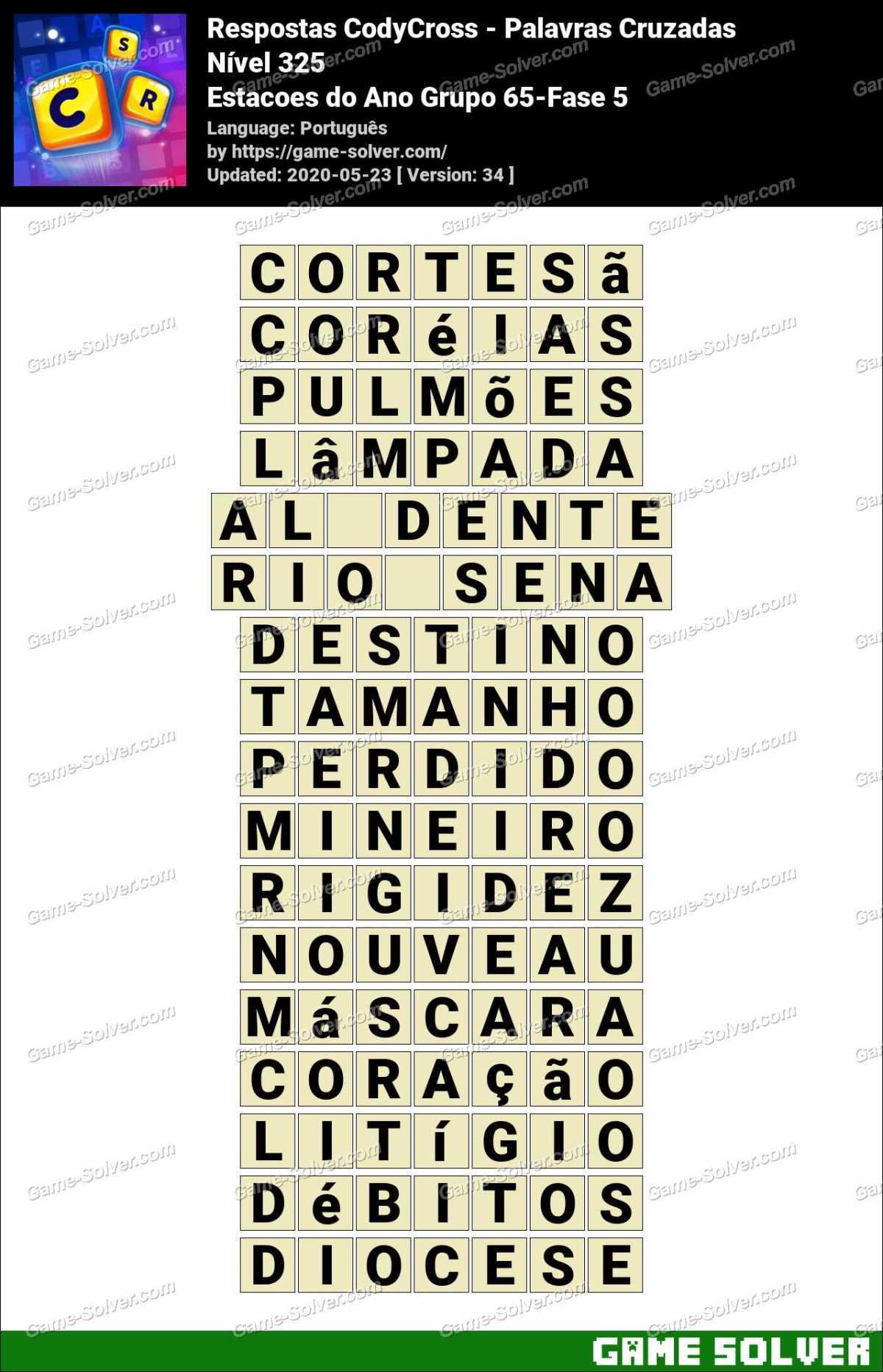 Respostas CodyCross Estacoes do Ano Grupo 65-Fase 5