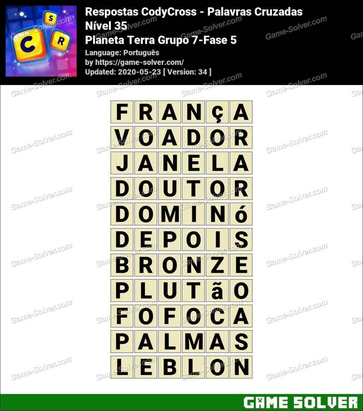 Respostas CodyCross Planeta Terra Grupo 7-Fase 5