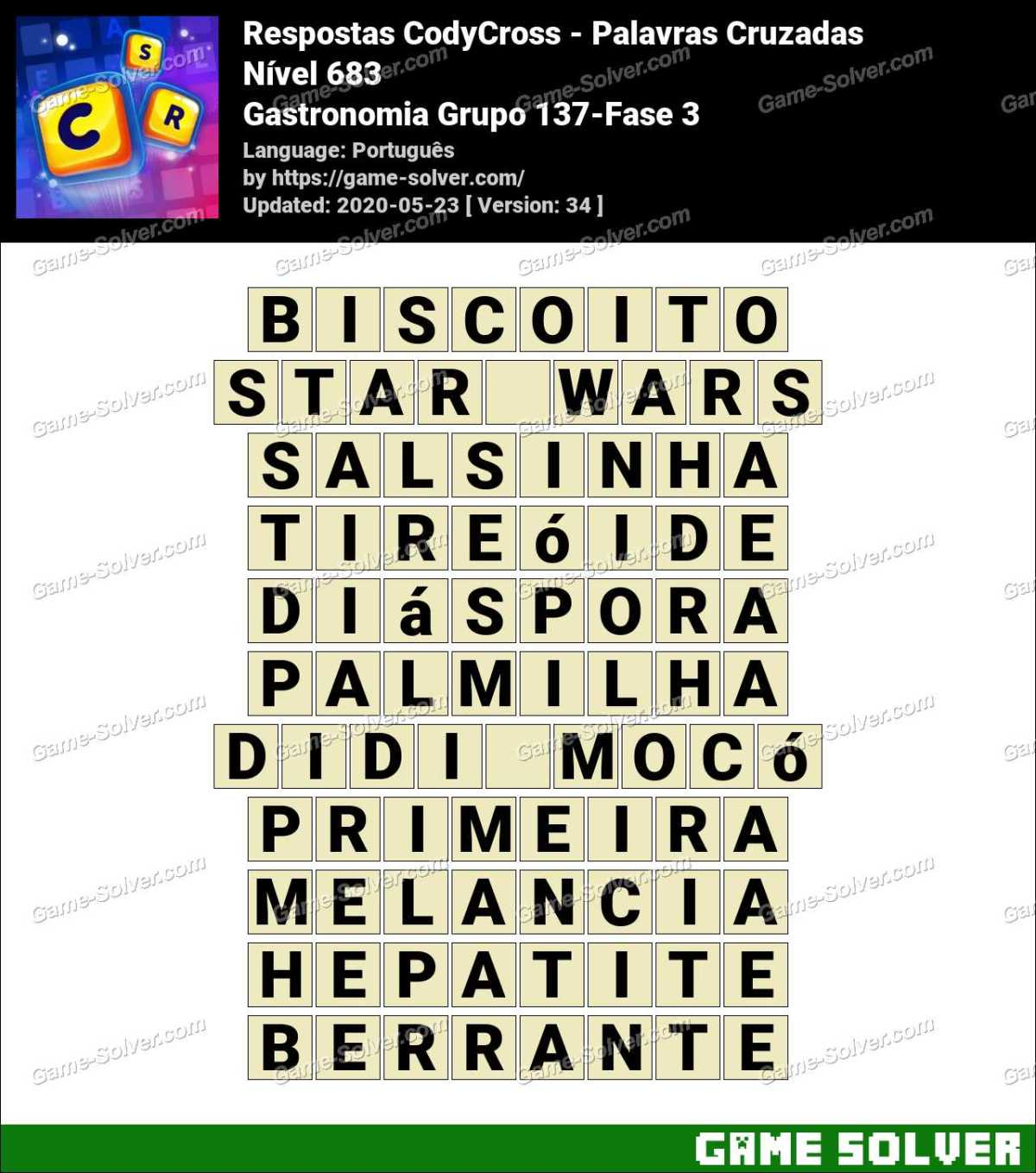 Respostas CodyCross Gastronomia Grupo 137-Fase 3